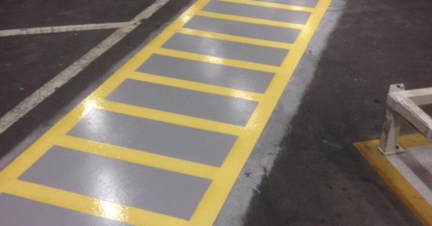 linjemålad trottoar utfört av CFF